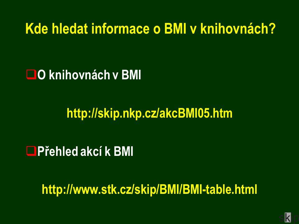 Kde hledat informace o BMI v knihovnách.