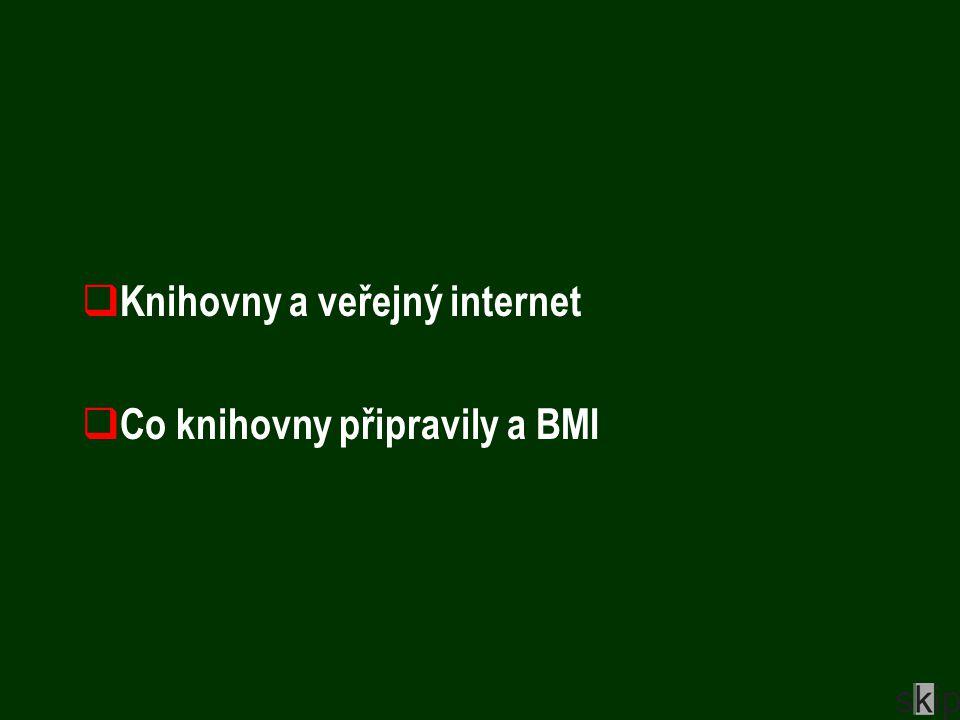  Knihovny a veřejný internet  Co knihovny připravily a BMI