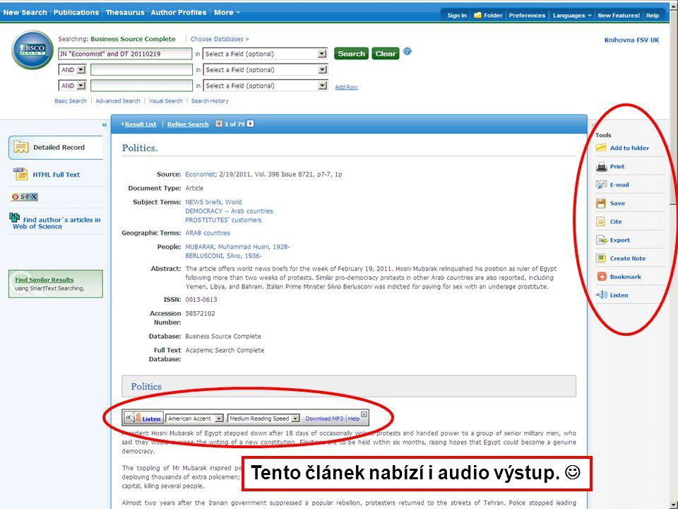 23 Tento článek nabízí i audio výstup.