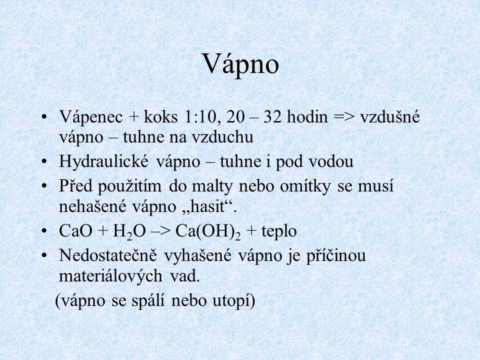 Vápno Vápenec + koks 1:10, 20 – 32 hodin => vzdušné vápno – tuhne na vzduchu Hydraulické vápno – tuhne i pod vodou Před použitím do malty nebo omítky
