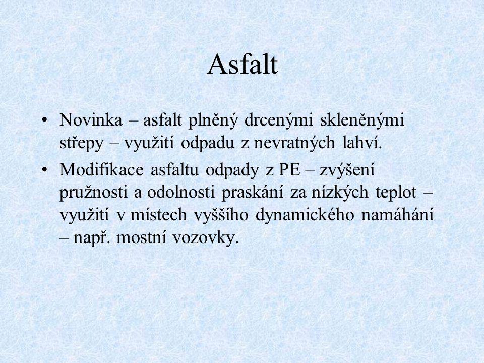 Asfalt Novinka – asfalt plněný drcenými skleněnými střepy – využití odpadu z nevratných lahví. Modifikace asfaltu odpady z PE – zvýšení pružnosti a od