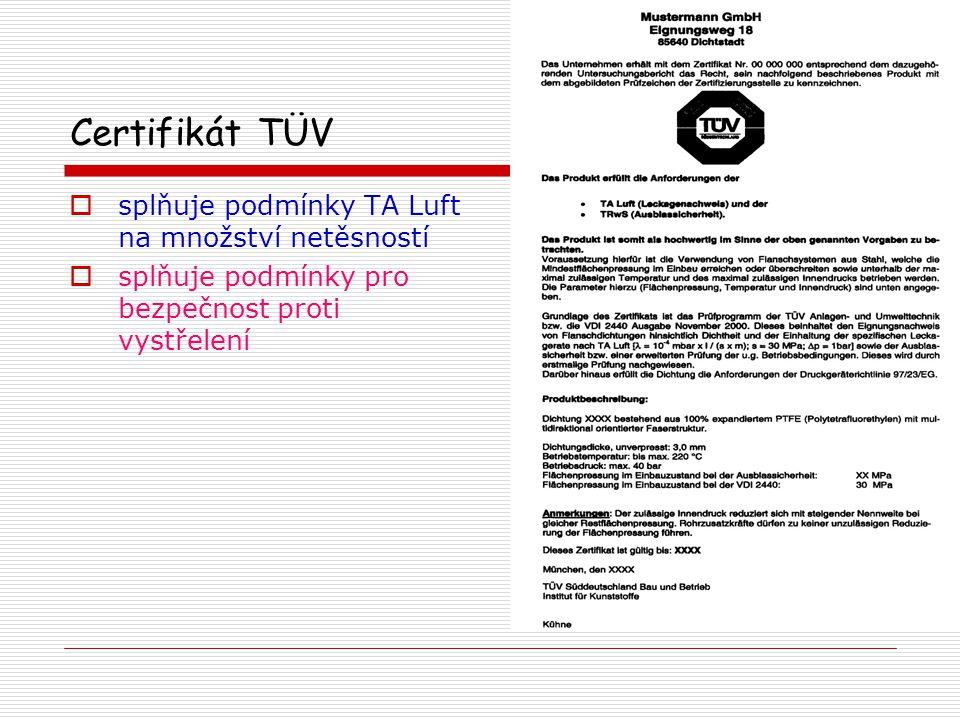 Požadavky na velikost netěsností dle nových zákonů ČR, TA-Luft, VDI 2440  při přetlaku 1 bar helia, utahovacím tlaku 30 MPa, teplotě 200°nebo 250° C