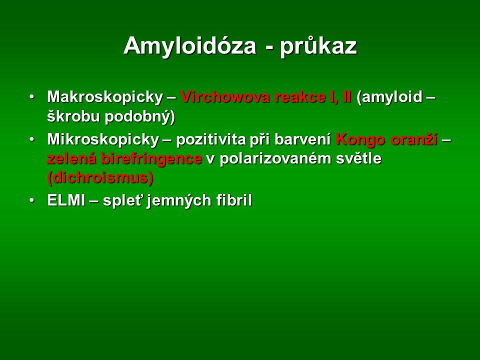 Amyloidóza - průkaz Makroskopicky – Virchowova reakce I, II (amyloid – škrobu podobný)Makroskopicky – Virchowova reakce I, II (amyloid – škrobu podobný) Mikroskopicky – pozitivita při barvení Kongo oranží – zelená birefringence v polarizovaném světle (dichroismus)Mikroskopicky – pozitivita při barvení Kongo oranží – zelená birefringence v polarizovaném světle (dichroismus) ELMI – spleť jemných fibrilELMI – spleť jemných fibril