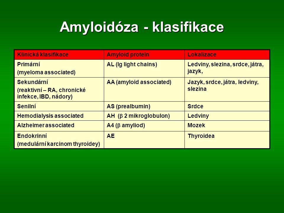 Amyloidóza - klasifikace Klinická klasifikaceAmyloid proteinLokalizace Primární (myeloma associated) AL (Ig light chains)Ledviny, slezina, srdce, játra, jazyk, Sekundární (reaktivní – RA, chronické infekce, IBD, nádory) AA (amyloid associated)Jazyk, srdce, játra, ledviny, slezina SenilníAS (prealbumin)Srdce Hemodialysis associated AH (  2 mikroglobulon) Ledviny Alzheimer associated A4 (  amyliod) Mozek Endokrinní (medulární karcinom thyroidey) AEThyroidea