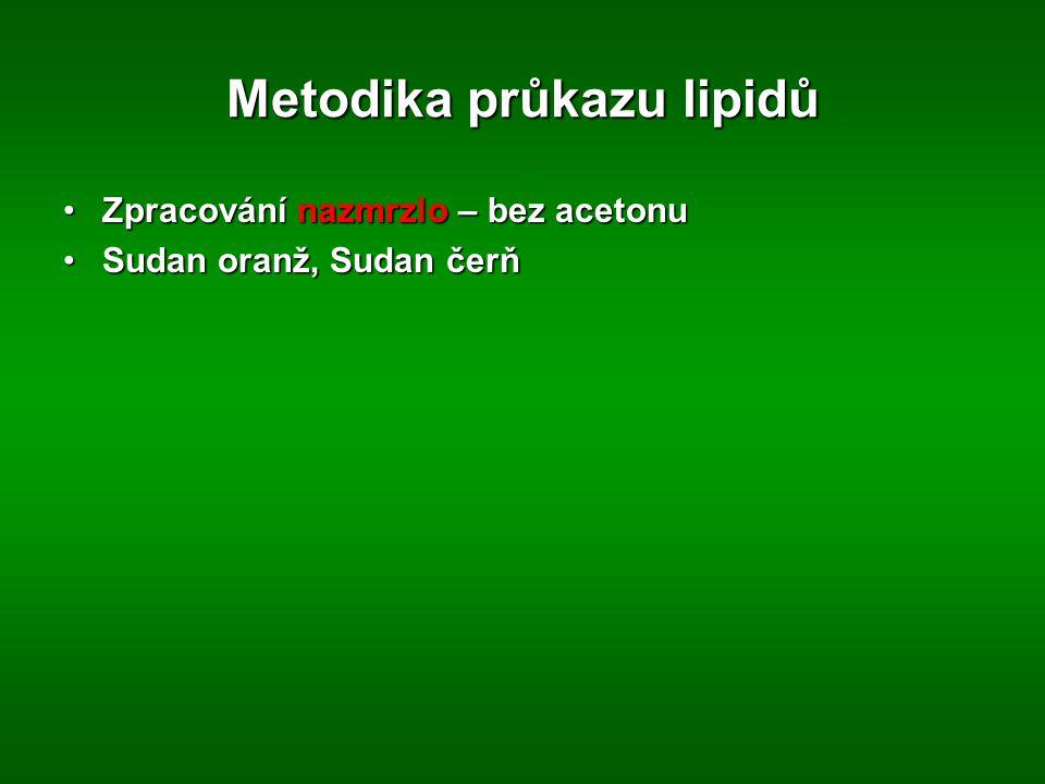 Metodika průkazu lipidů Zpracování nazmrzlo – bez acetonuZpracování nazmrzlo – bez acetonu Sudan oranž, Sudan čerňSudan oranž, Sudan čerň