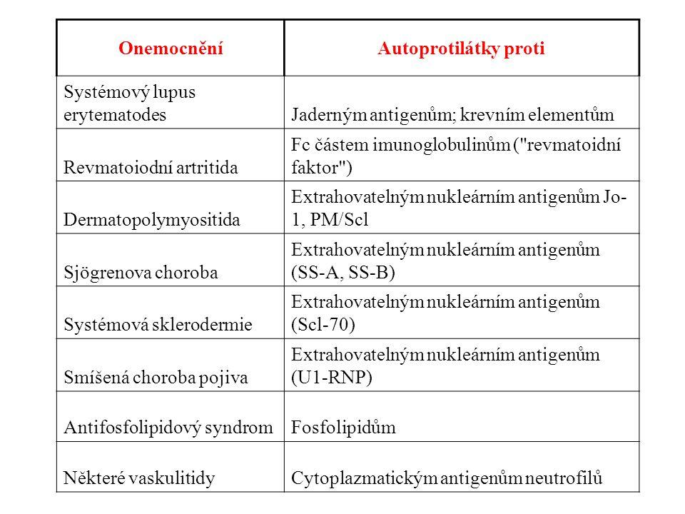 OnemocněníAutoprotilátky proti Systémový lupus erytematodesJaderným antigenům; krevním elementům Revmatoiodní artritida Fc částem imunoglobulinům ( revmatoidní faktor ) Dermatopolymyositida Extrahovatelným nukleárním antigenům Jo- 1, PM/Scl Sjögrenova choroba Extrahovatelným nukleárním antigenům (SS-A, SS-B) Systémová sklerodermie Extrahovatelným nukleárním antigenům (Scl-70) Smíšená choroba pojiva Extrahovatelným nukleárním antigenům (U1-RNP) Antifosfolipidový syndromFosfolipidům Některé vaskulitidyCytoplazmatickým antigenům neutrofilů