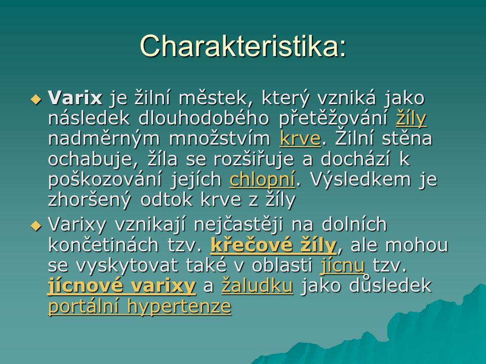 Charakteristika:  Varix je žilní městek, který vzniká jako následek dlouhodobého přetěžování žíly nadměrným množstvím krve. Žilní stěna ochabuje, žíl