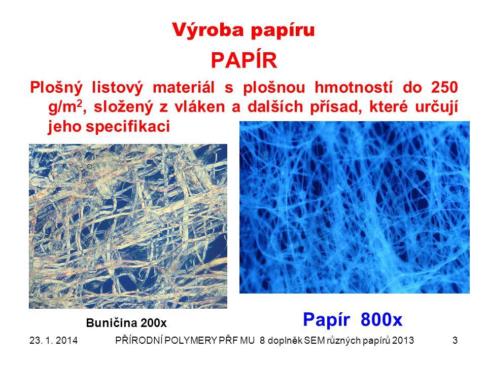 Snímkované druhy papíru 1 - papír křídový 2 - dřevovinový papír 3 - papír filtrační 4 - papír nebělený (kávový flitr) 5 - ruční papír Velké Losiny 23.