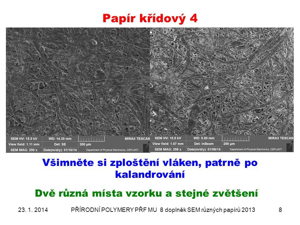 Papír křídový- ANALÝZA PLNIV 3 sonda změřena na konkrétní objekt 23.