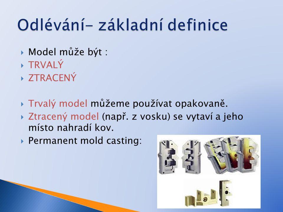  Vytváření dutin  Model může být :  TRVALÝ  ZTRACENÝ  Trvalý model můžeme používat opakovaně.