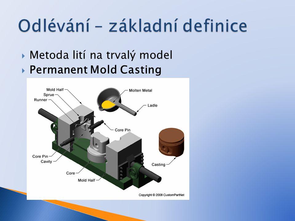  Metoda lití na trvalý model  Permanent Mold Casting