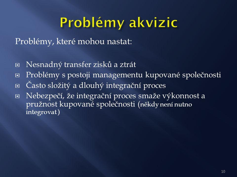 Problémy, které mohou nastat:  Nesnadný transfer zisků a ztrát  Problémy s postoji managementu kupované společnosti  Často složitý a dlouhý integra