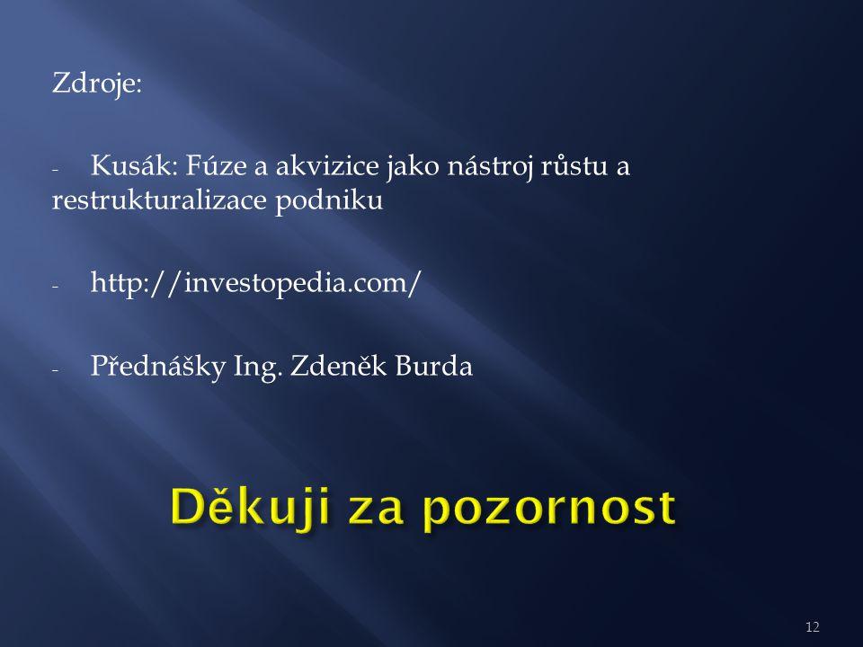 12 Zdroje: - Kusák: Fúze a akvizice jako nástroj růstu a restrukturalizace podniku - http://investopedia.com/ - Přednášky Ing. Zdeněk Burda