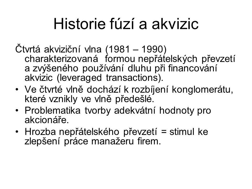 Historie fúzí a akvizic Čtvrtá akviziční vlna (1981 – 1990) charakterizovaná formou nepřátelských převzetí a zvýšeného používání dluhu při financování