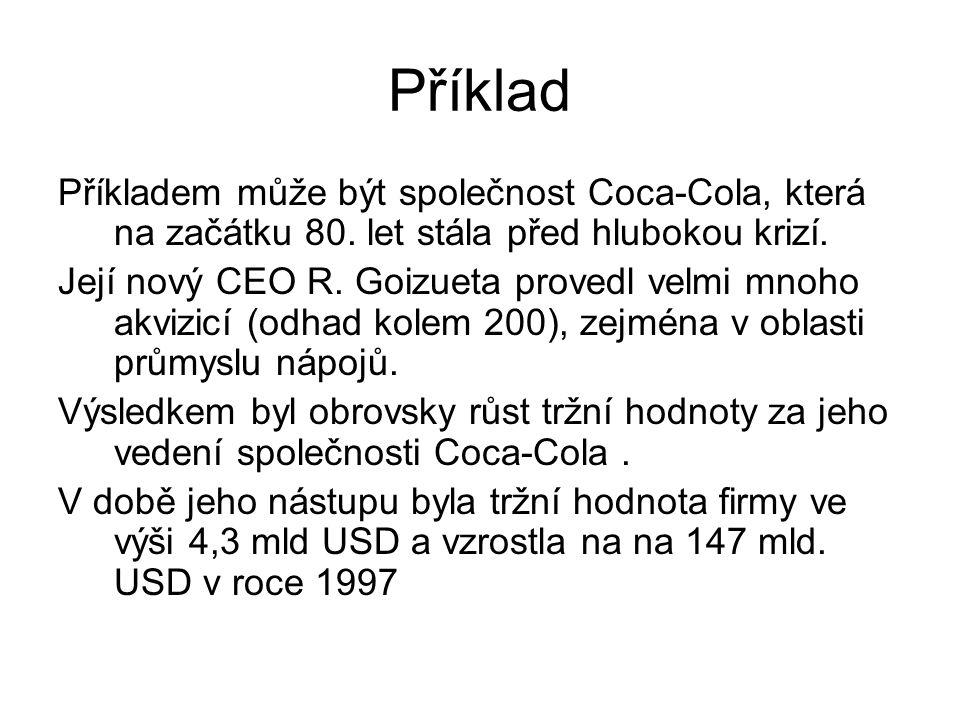 Příklad Příkladem může být společnost Coca-Cola, která na začátku 80. let stála před hlubokou krizí. Její nový CEO R. Goizueta provedl velmi mnoho akv