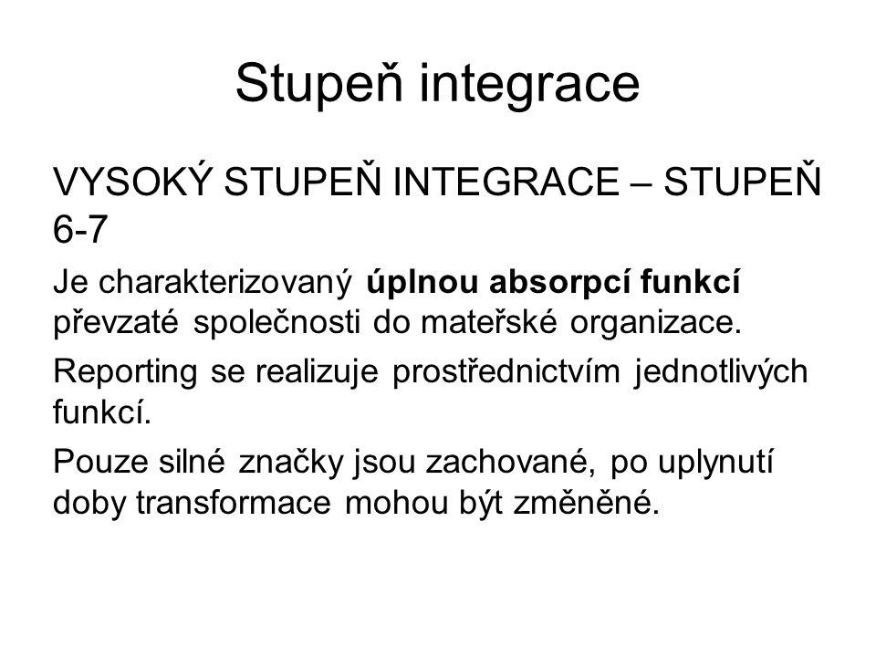 Stupeň integrace VYSOKÝ STUPEŇ INTEGRACE – STUPEŇ 6-7 Je charakterizovaný úplnou absorpcí funkcí převzaté společnosti do mateřské organizace. Reportin