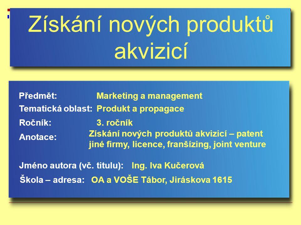 Získání nových produktů akvizicí Jméno autora (vč.