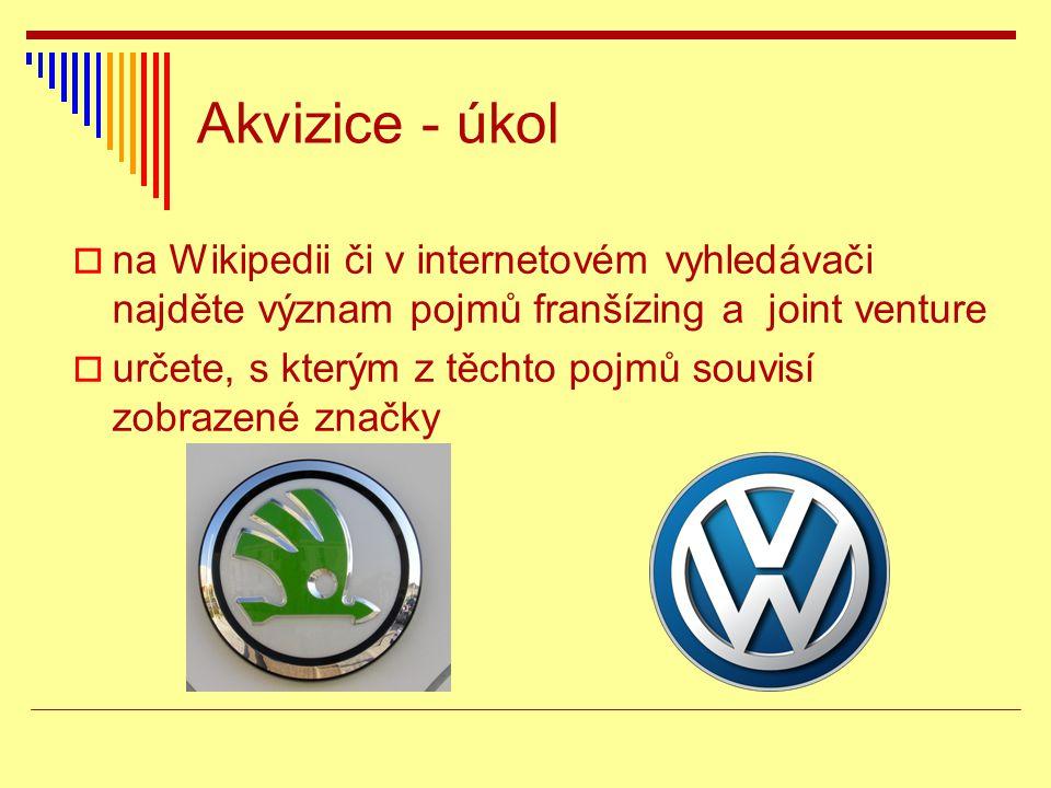 Akvizice - úkol  na Wikipedii či v internetovém vyhledávači najděte význam pojmů franšízing a joint venture  určete, s kterým z těchto pojmů souvisí zobrazené značky