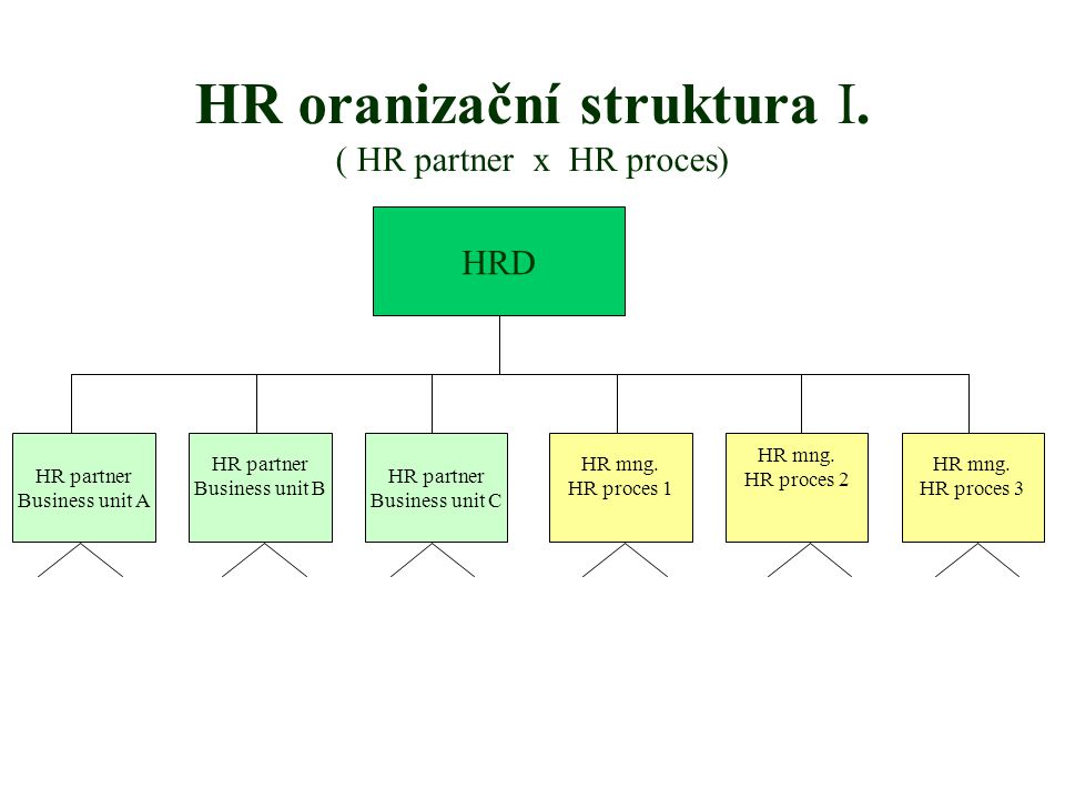 HR oranizační struktura I. ( HR partner x HR proces) HRD HR partner Business unit A HR partner Business unit B HR partner Business unit C HR mng. HR p