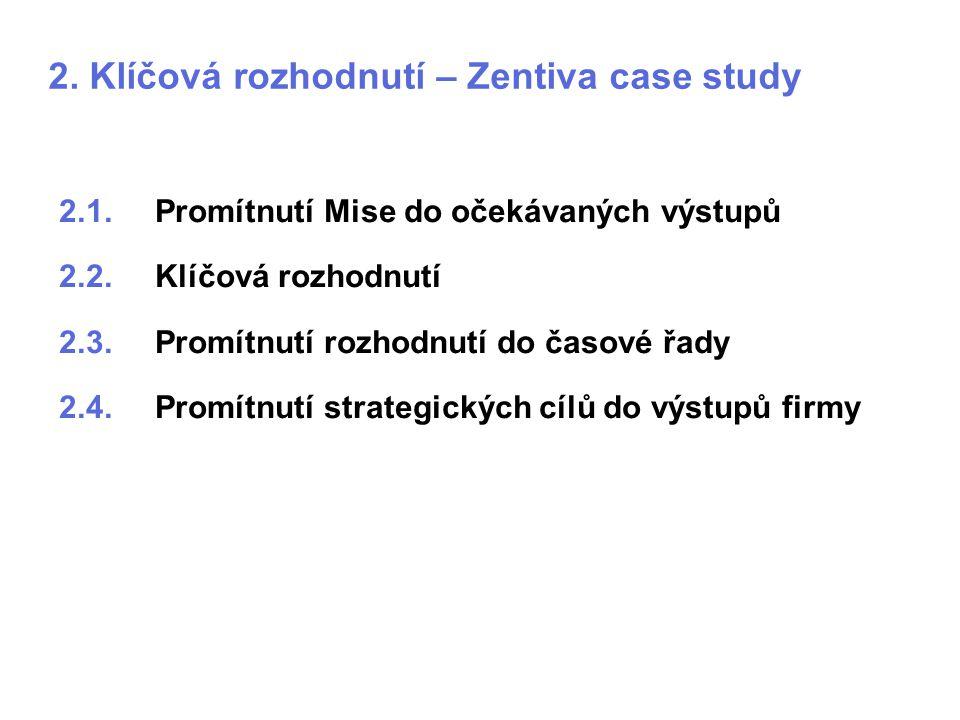 2. Klíčová rozhodnutí – Zentiva case study 2.1.Promítnutí Mise do očekávaných výstupů 2.2.Klíčová rozhodnutí 2.3.Promítnutí rozhodnutí do časové řady