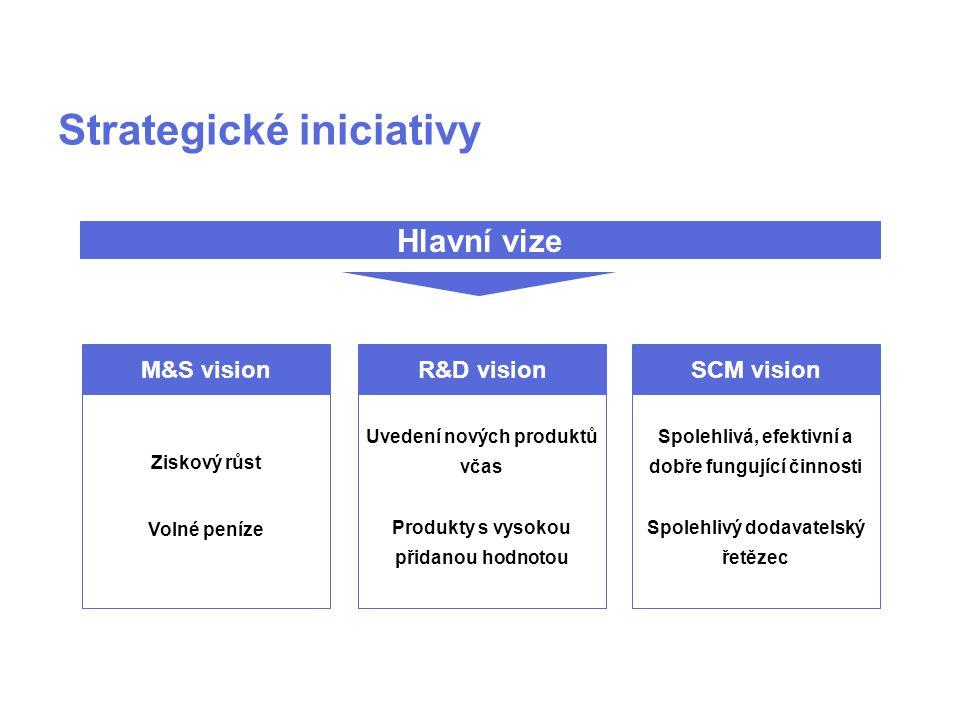 M&S vision Ziskový růst Volné peníze R&D vision Uvedení nových produktů včas Produkty s vysokou přidanou hodnotou SCM vision Spolehlivá, efektivní a dobře fungující činnosti Spolehlivý dodavatelský řetězec Hlavní vize Strategické iniciativy