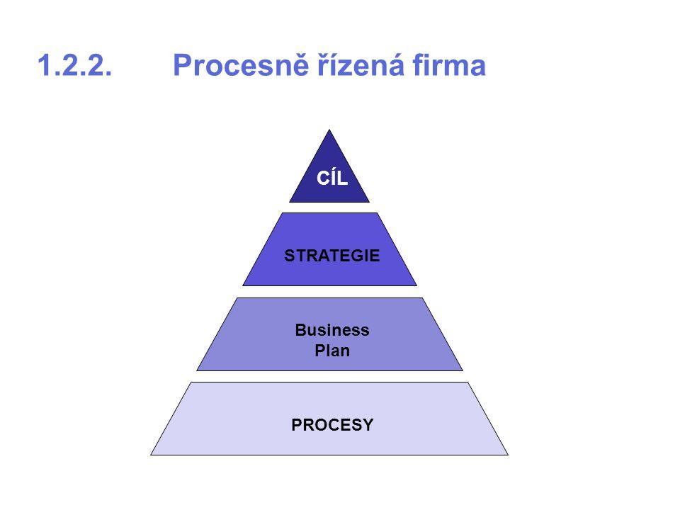 1.2.2.Procesně řízená firma PROCESY Business Plan STRATEGIE CÍL