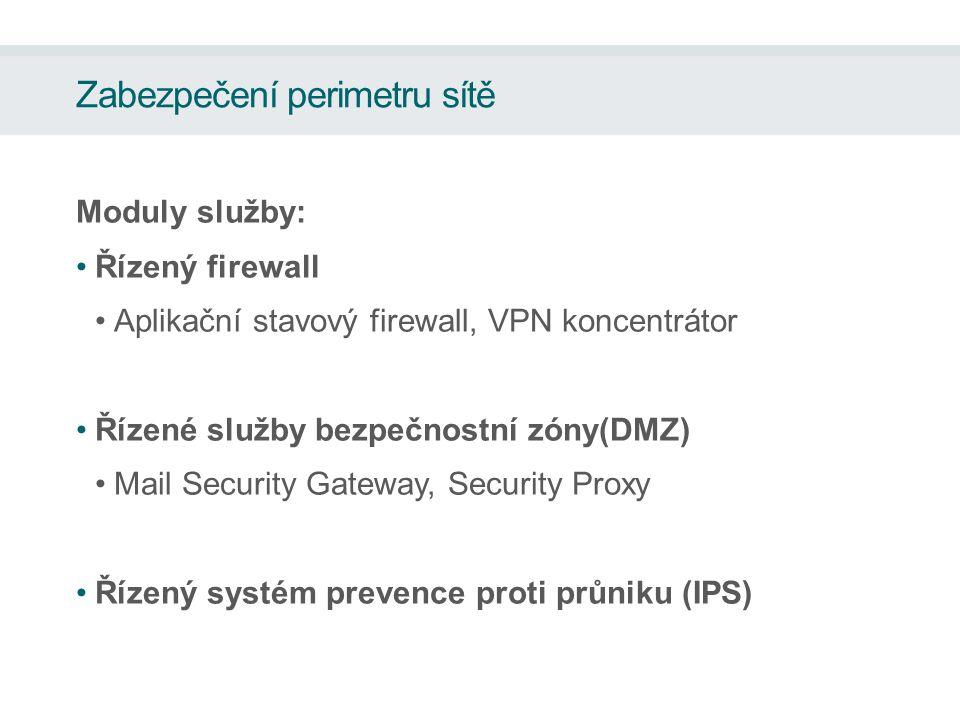 Zabezpečení perimetru sítě Moduly služby: Řízený firewall Aplikační stavový firewall, VPN koncentrátor Řízené služby bezpečnostní zóny(DMZ) Mail Security Gateway, Security Proxy Řízený systém prevence proti průniku (IPS)