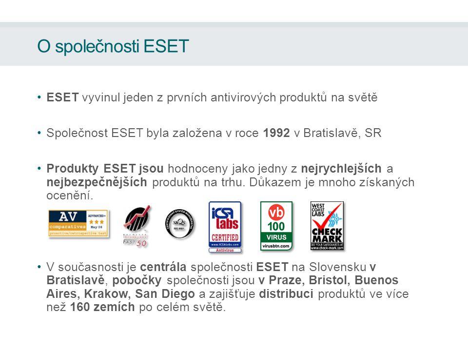 O společnosti ESET ESET vyvinul jeden z prvních antivirových produktů na světě Společnost ESET byla založena v roce 1992 v Bratislavě, SR Produkty ESET jsou hodnoceny jako jedny z nejrychlejších a nejbezpečnějších produktů na trhu.