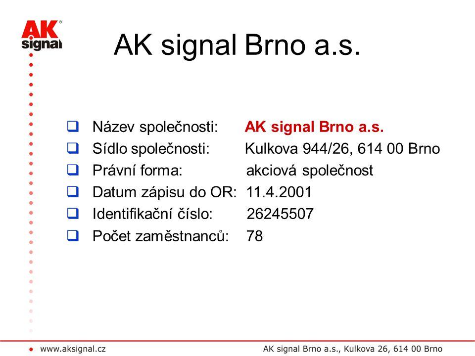 AK signal Brno a.s.  Název společnosti: AK signal Brno a.s.  Sídlo společnosti: Kulkova 944/26, 614 00 Brno  Právní forma: akciová společnost  Dat
