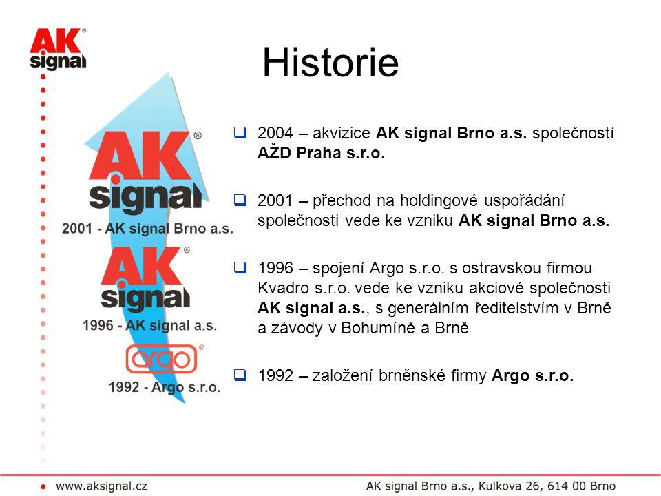 Historie  2004 – akvizice AK signal Brno a.s. společností AŽD Praha s.r.o.  2001 – přechod na holdingové uspořádání společnosti vede ke vzniku AK si