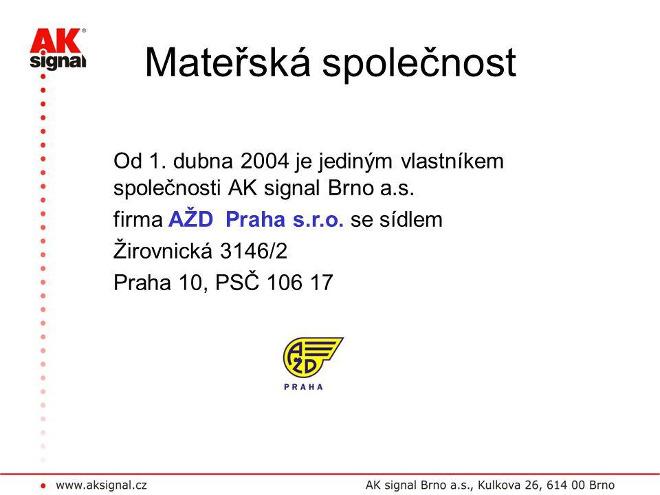 Mateřská společnost Od 1. dubna 2004 je jediným vlastníkem společnosti AK signal Brno a.s. firma AŽD Praha s.r.o. se sídlem Žirovnická 3146/2 Praha 10