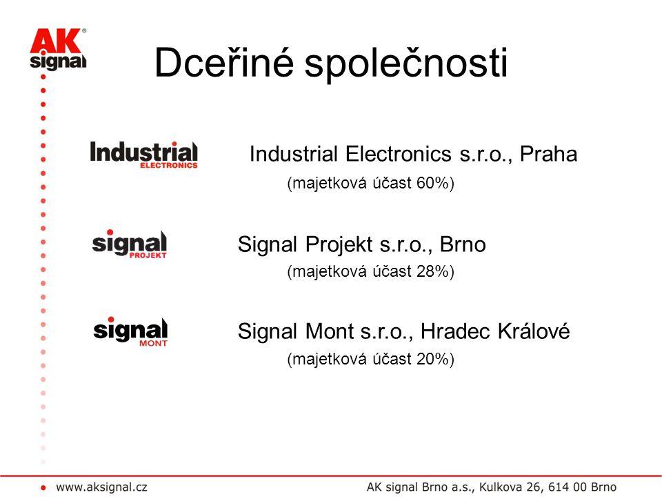 Dceřiné společnosti Industrial Electronics s.r.o., Praha (majetková účast 60%) Signal Projekt s.r.o., Brno (majetková účast 28%) Signal Mont s.r.o., H