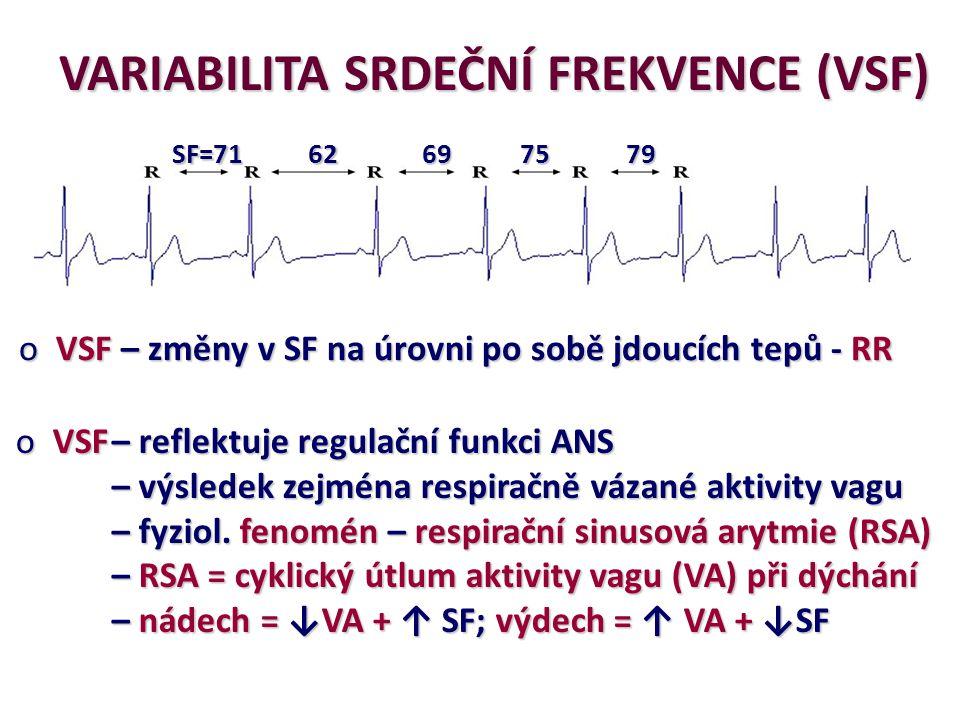 SF=71 62697579 VARIABILITA SRDEČNÍ FREKVENCE (VSF) o VSF – změny v SF na úrovni po sobě jdoucích tepů - RR o VSF– reflektuje regulační funkci ANS – vý