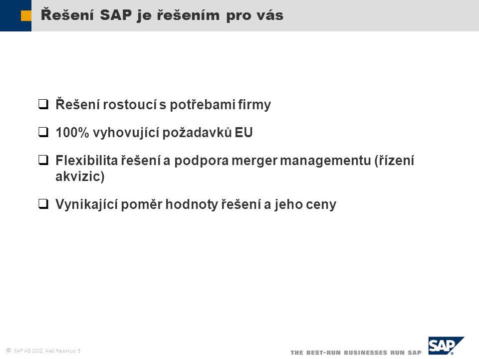  SAP AG 2002, Aleš Reisskup 5 Řešení SAP je řešením pro vás  Řešení rostoucí s potřebami firmy  100% vyhovující požadavků EU  Flexibilita řešení a
