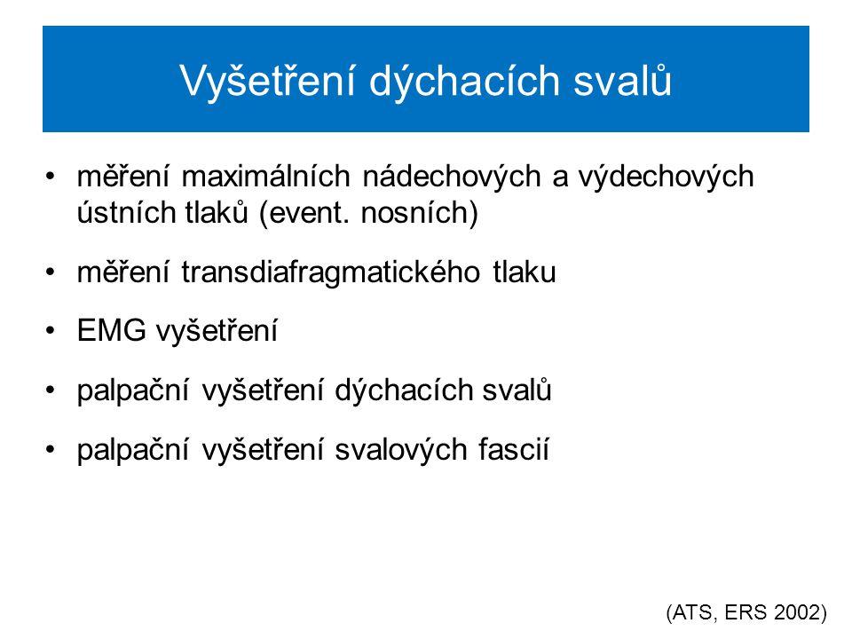 Vyšetření maximálního nádechového a výdechového ústního tlaku Neinvazivní typ vyšetření Lze zhodnotit sílu dýchacích svalů Hodnoty lze využít pro preskripci cílené tréninku dýchacích svalů (pro určení intenzity tréninku) (ATS, ERS 2002)