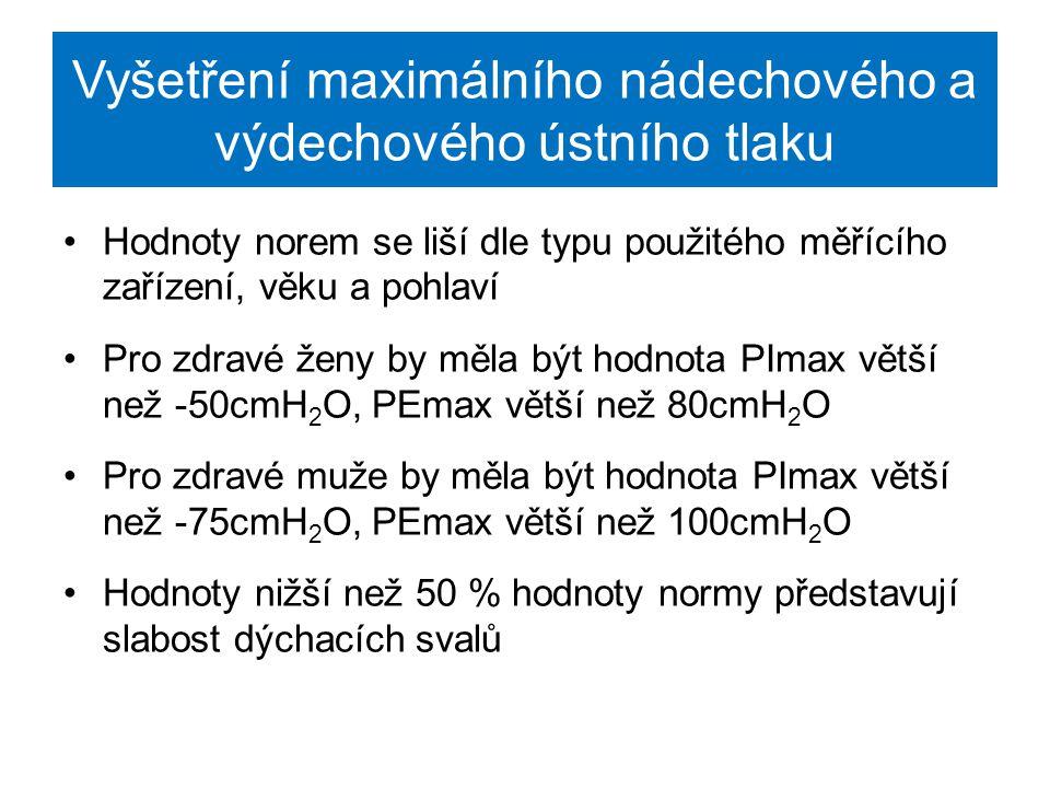 Vyšetření dechové mechaniky parametr P.01 okluzní ústní tlak – parametr P.01 je vyšetřován pro zhodnocení aktivity respiračních center P.01 představuje tlak naměřený v ústech v čase 100ms po začátku inhalace v době cyklu klidového dýchání Hodnota tohoto parametru by měla být nižší než 0,2kPa Vyšetření: -vyšetřovaná osoba klidově dýchá a v intervalech je přerušen respirační průtok na 120ms -tlak se zaznamenává 100ms po začátku nádechu, představuje výkon, který pacient dokáže poskytnout v době normálního dýchání