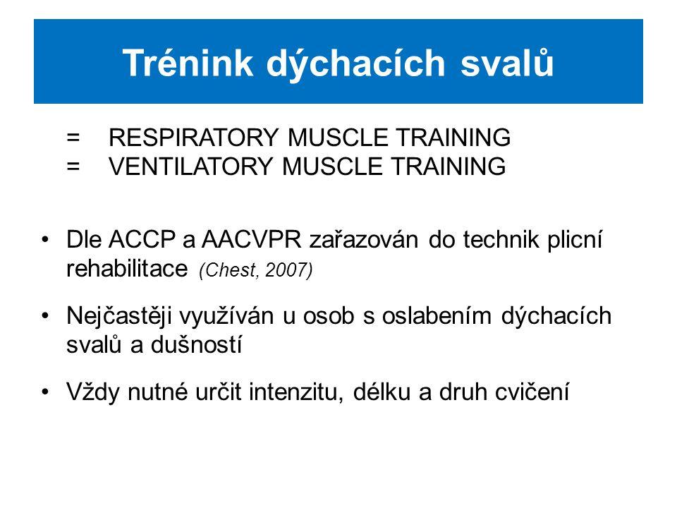 Trénink dýchacích svalů zařazujeme na podkladě výsledků v kontextu komplexního vyšetření dle aktuálního klinického nálezu: -síla dýchacích svalů -symptomy -plicní funkce -pracovní kapacita -kineziologické vyšetření