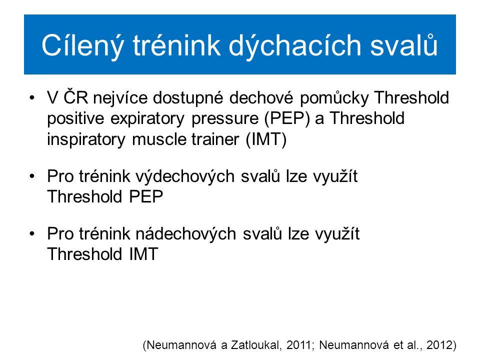 THRESHOLD PEP a IMT aktivace výdechových a nádechových svalů s cílem zvýšení jejich síly a s cílem zlepšení jejich koordinace a vytrvalosti Threshold PEP Threshold IMT