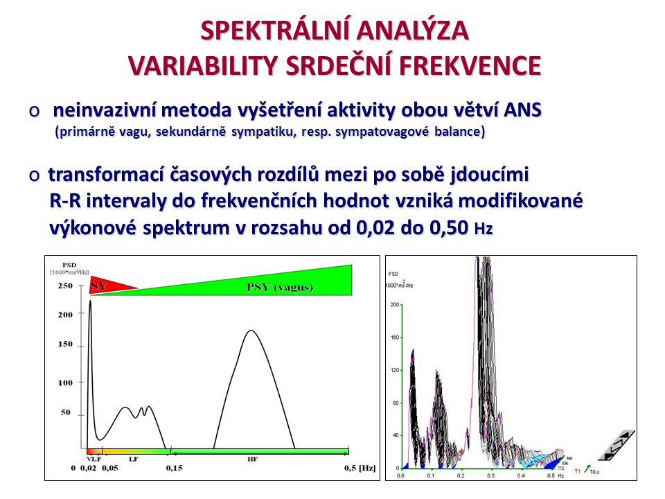POSUZOVÁNÍ INDIVIDUÁLNÍCH SPEKTRÁLNÍCH PARAMETRŮ HRV Task Force (1996) o P VLF (0.02-0.05 Hz = 1,2 – 3 změny/min) :původ zatím nejednoznačný nejnižší vliv VA o P LF (0.05-0.15 Hz = 3 – 9 změny/min) :vliv pouze SY; nebo SY i VA, činnost baroreceptorů o P HF (0.15-0.50 Hz = 9 – 30 změny/min) :vliv výhradně VA, zrcadlí RSA o P T (0.02-0.50 Hz = 1,2 – 30 změny/min) := P VLF + P LF + P HF