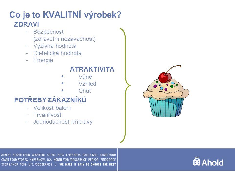 Co je to KVALITNÍ výrobek? ZDRAVÍ - Bezpečnost (zdravotní nezávadnost) - Výživná hodnota - Dietetická hodnota - Energie ATRAKTIVITA Vůně Vzhled Chuť P