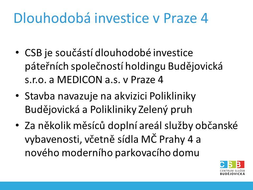 Dlouhodobá investice v Praze 4 CSB je součástí dlouhodobé investice páteřních společností holdingu Budějovická s.r.o.