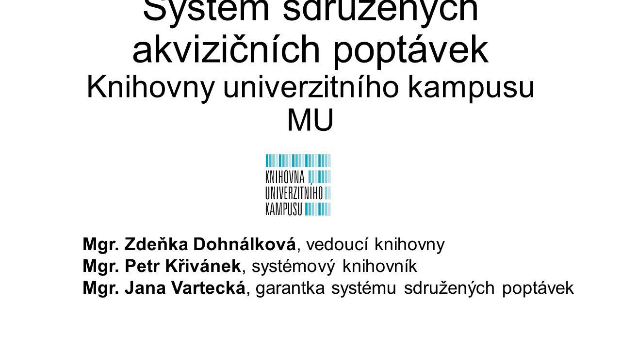 Systém sdružených akvizičních poptávek Knihovny univerzitního kampusu MU Mgr. Zdeňka Dohnálková, vedoucí knihovny Mgr. Petr Křivánek, systémový knihov
