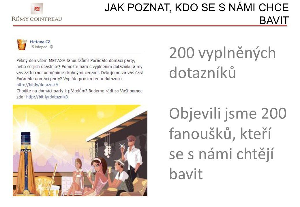 JAK POZNAT, KDO SE S NÁMI CHCE BAVIT 200 vyplněných dotazníků Objevili jsme 200 fanoušků, kteří se s námi chtějí bavit