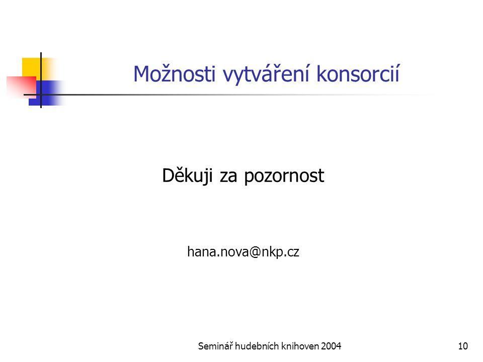 Seminář hudebních knihoven 200410 Možnosti vytváření konsorcií Děkuji za pozornost hana.nova@nkp.cz