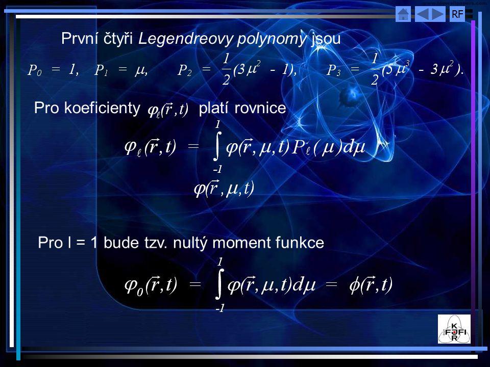 RF První čtyři Legendreovy polynomy jsou Pro koeficienty platí rovnice Pro l = 1 bude tzv. nultý moment funkce