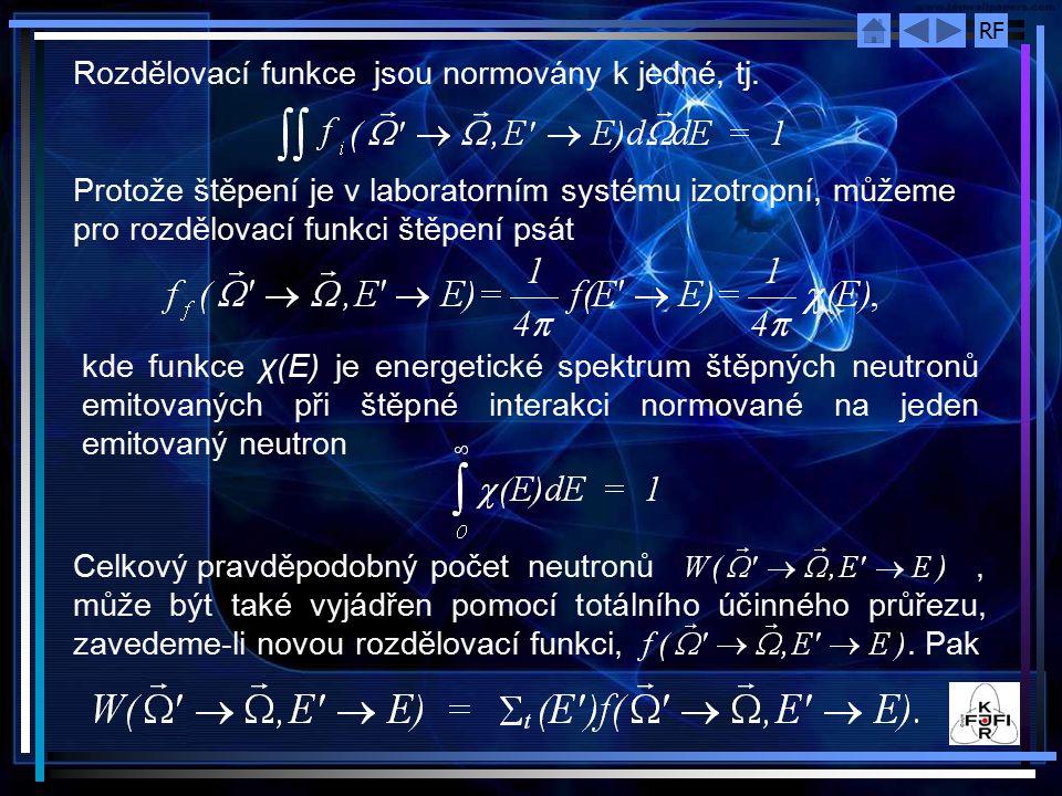 RF Rozdělovací funkce jsou normovány k jedné, tj. Protože štěpení je v laboratorním systému izotropní, můžeme pro rozdělovací funkci štěpení psát kde