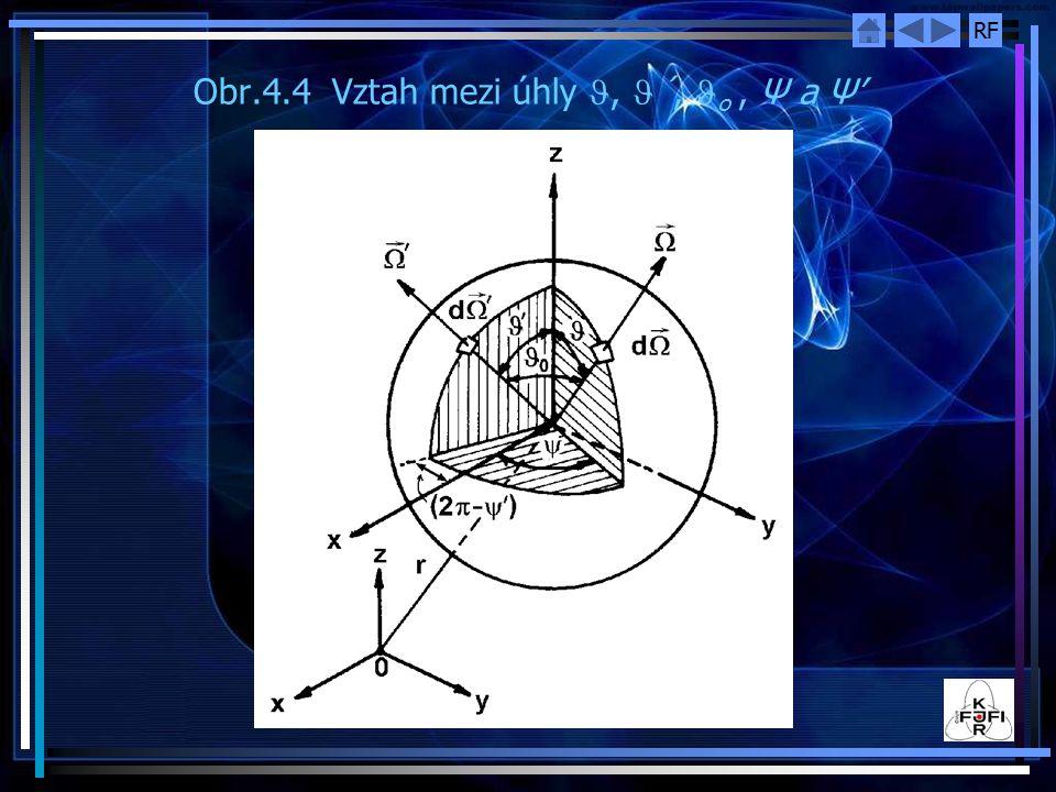 RF Obr.4.4 Vztah mezi úhly, ´, o, Ψ a Ψ'