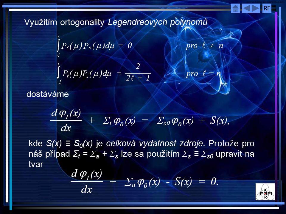 RF Využitím ortogonality Legendreových polynomů dostáváme kde S(x) ≡ S 0 (x) je celková vydatnost zdroje. Protože pro náš případ Σ t = Σ a + Σ s lze s
