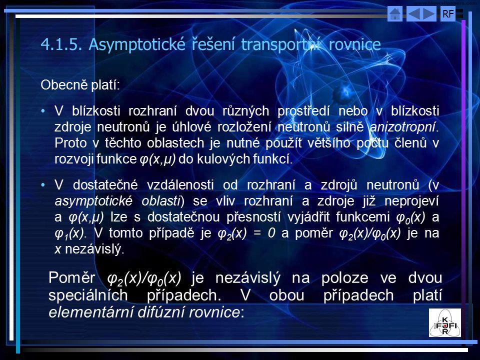 RF 4.1.5. Asymptotické řešení transportní rovnice Obecně platí: V blízkosti rozhraní dvou různých prostředí nebo v blízkosti zdroje neutronů je úhlové