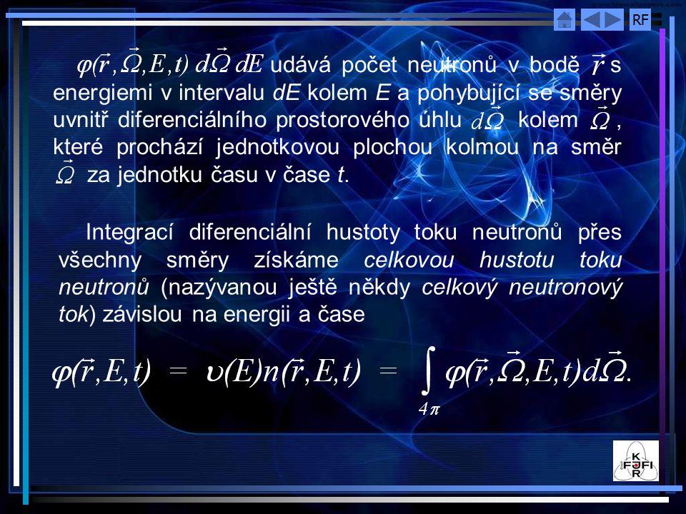 RF Analogicky lze odvodit hustotu produ neutronů ve směru osy x a ve směru osy y: Výsledná hustota toku proudu neutronů J je dána vztahem : Výsledná hustota proudu je vektorovou veličinou